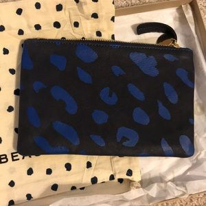 Leather zipper wallet clutch